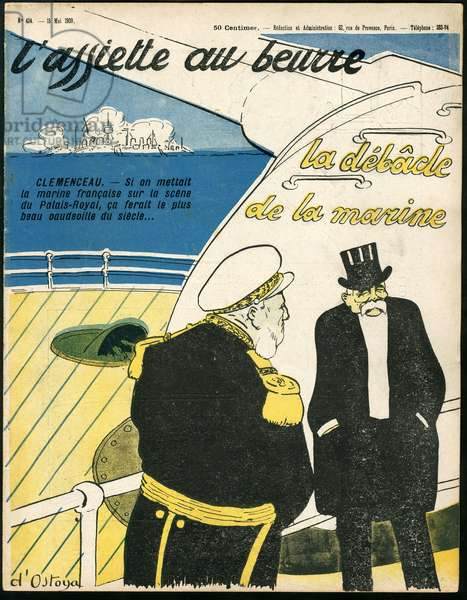 """Cover of """""""" The Butter Plate"""""""", number 424, Satirique en Colours, 1909_5_15: Armee, Marine Marine Marine Balneaire - Clemenceau George, Admiral Admirals - Illustration by Georges d'Ostoya-Sochinsky (D'Ostoya) (1878-1937)"""