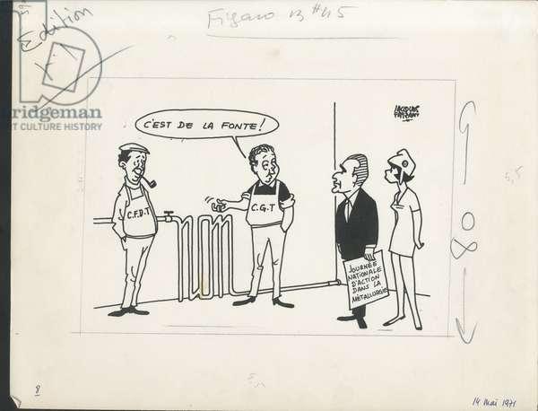 Le Figaro, Satirique en N & B, 1971_5_14: Social, CGT, Cfdt - Seguy Georges, Chaban Delmas Jacques, Maire Edmond - Illustration by Jacques Faizant (1918-2006)