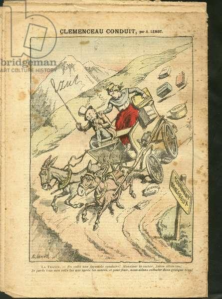 Illustration of Achille Lemot (1846-1909) in Le Pelerin, 17/01/09 - Clemenceau conduit - Retraite retraites ouveres, Impots, Mountain Mountaineering Climbing, Economy, Caleche Fiacre Cab - Clemenceau George, Marianne, Ane, France (Allegorie de)