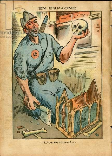 Illustration of Modyc (1910-?) in Le Pelerin, 04/10/36 - Dead Corpses, Spain, Religion Faith, Cathedral Churches, Spanish Revolution, Civil War, Catholic Catholicism - Relics - Militias