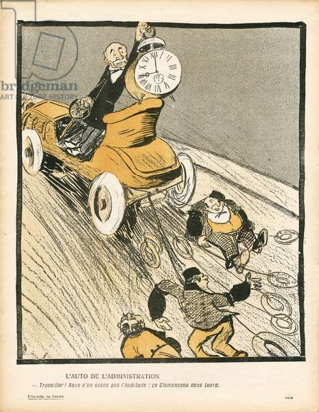 L'Plate au beurre, number 298, Satirique en couleurs, 1906_12_15: Automobile, Public Service, Labour, Administration - Clemenceau George - Illustration by Leal de Camara (1877-1948)