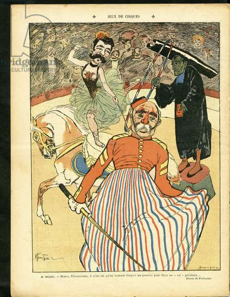 The Laughter, Satirical in Colours, 1907_2_16: Circus Games - Clemenceau George, Briand Aristide, Jesuites - Illustration by Jules Fontanez (1875-1918)