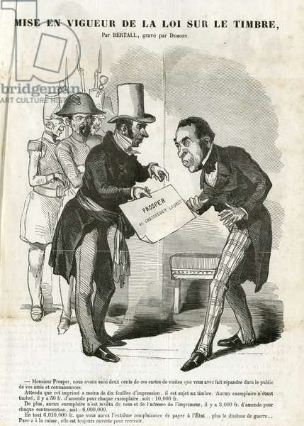 Illustration of Bertall (1820-1882) in Journal pour rire, 1850-7-13 - Implementation of the Stamp Act - Censorship, Press/Media, Stamp (press law)