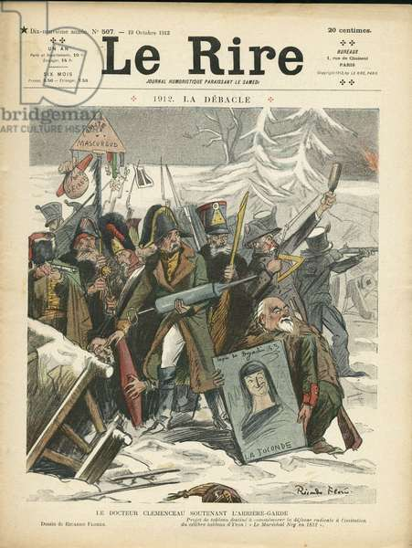"Cover of """" The Laughter"""", Satirical en Colours, 1912_10_19:1912. The Debacle - Radicalism, Antimaconism, Winter - Clemenceau George, Napoleon I - Illustration by Ricardo Flores (1878-1918)"