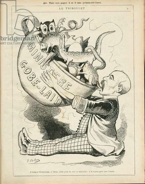 Le Triboulet, 1886_12_19 - Illustration by Pierre-Albert Douat BlassJ. (1847-1892): Ministere - Clemenceau George, Goblet Rene (1828-1905) - Animalisation