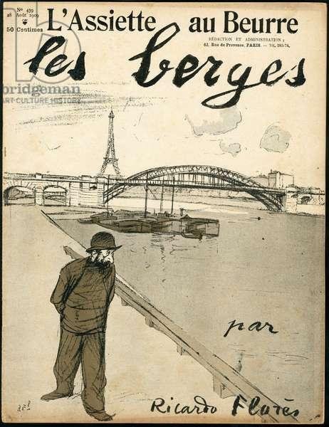 """Cover of """""""" L'Plate au beurre"""""""", number 439, Satirique en Couleurs, 1909_8_28: Paris, Eiffel Tower, Pont, Seine (river) - Illustration by Ricardo Flores (1878-1918)"""