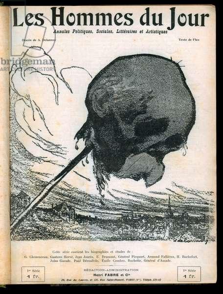 """Cover of """""""" Les Hommes du jour"""""""", number 1, 1908, Satirique en N & B: Clemenceau George"""