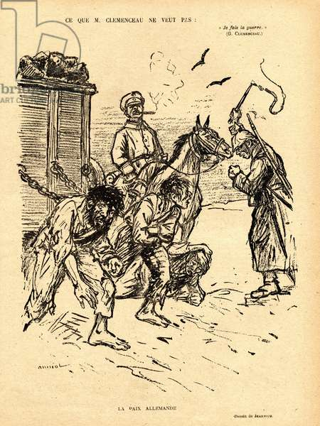 Red Laughter, Satirical in N & B, 1918_3_23: War of 14 -18: What Clemenceau does not want, German peace - Germany Prussia, Peace - Clemenceau George - Illustration by Jeanniot (1848-1934)