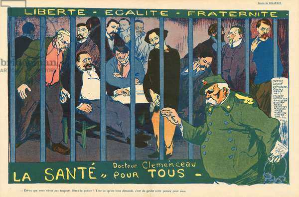 The Butter Plate, Satirical in Colours, 1908_10_31: Censorship, Prisons, Repression - Clemenceau George, Delannoy Aristide (1874-1911), Herve Gustave (1871-1944) - Illustration by Aristide Delannoy (1874-1911)