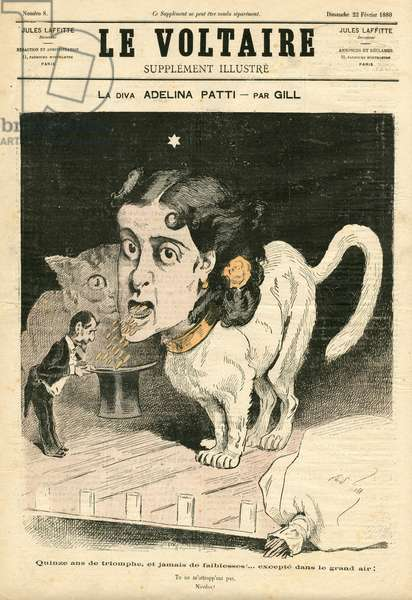 The Illustrated Voltaire, 1880_2_22 - Illustration by Louis Alexandre Gosset de Guines dit Gill (1840-1885): Cat, Patti Adelina (1843-1919) - Animalisation