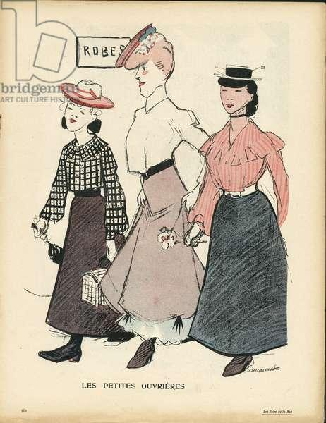 L'Plate au beurre, number 231, Satirique en couleurs, 1905_9_2: Les petites ouvrieres - Fashion - Workers - Illustration by Hermann-Paul (1864-1940)