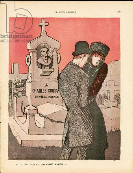 L'Plate au beurre, number 450, Satirique en couleurs, 1909_11_13: Love, Cemetery, Mourning Obseques, Widower - Illustration by J Gris (1887-1927)