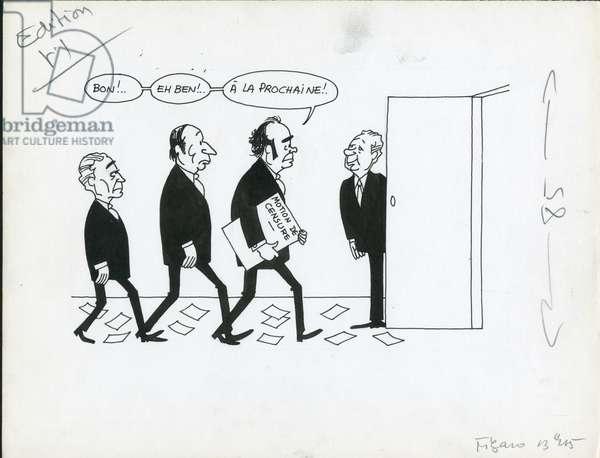 Le Figaro, Satirique en N & B, 1973_10_10: President of the Republic, Motion of censure - Mitterrand Francois, Marchais Georges, Messmer Pierre, Fabre Robert - Illustration by Jacques Faizant (1918-2006)