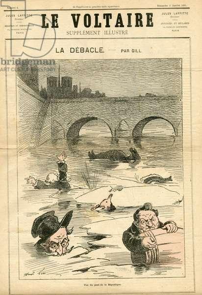 The Illustrated Voltaire, 1880_1_18 - Illustration by Louis Alexandre Gosset de Guines dit Gill (1840-1885): The Debacle - Seine (river) - Bonapartist Bonapartism, Legitimist Legitimism, Orleanist Orleanism, Jesuites - Drowade