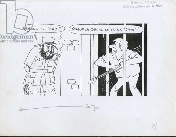 Le Figaro, Satirique en N & B, 1977_4_8: Prisons, Cuba, Peru - Castro Fidel - Illustration by Jacques Faizant (1918-2006)