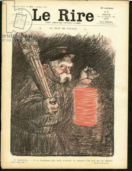 "Cover of ""The Laughter"", Satirical in Colors, 1907_3_23: La nuit de pataud - Clemenceau George (engraving)"