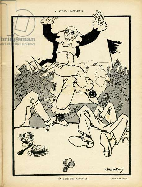 Illustration of Markous (1883-1941) in Le Rire, 08/08/08 - Mr Clown, dictator - War - Clemenceau George - Carnival/Game/Circus