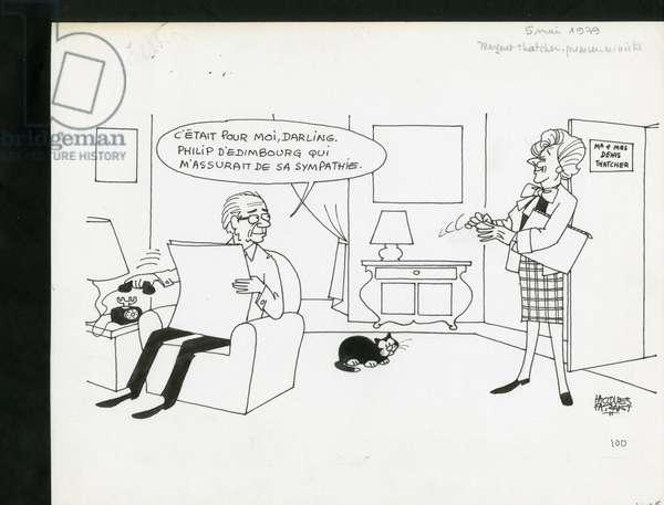 Le Figaro, Satirique en N & B, 1979_5_5: England Great Britain - Thatcher Margareth - Illustration by Jacques Faizant (1918-2006)