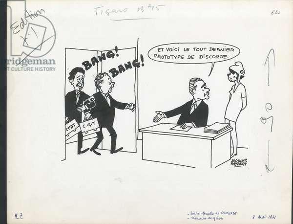 Le Figaro, Satirique en N & B, 1971_5_8: Social, Greve, CGT, Concorde (plane), Cfdt - Marianne, Seguy Georges, Chaban Delmas Jacques, Maire Edmond - Illustration by Jacques Faizant (1918-2006)
