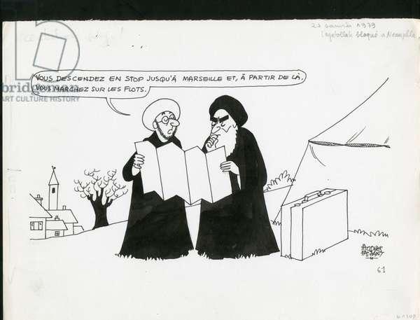 Le Figaro, Satirique en N & B, 1979_1_27: Iran - Khomeiny - Illustration by Jacques Faizant (1918-2006)