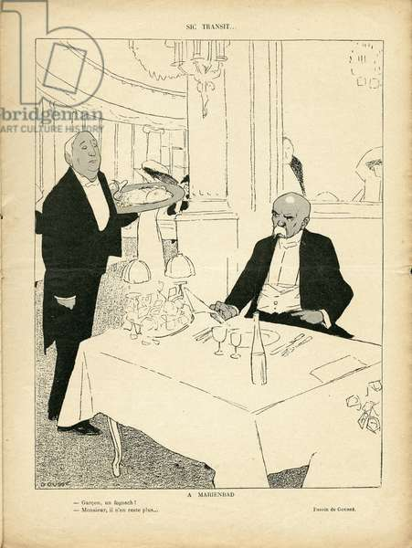 Illustration of Henri Gousse (1872-1914) in Le Rire, 28/08/09 - Sic Transit - England Great Britain, Restaurant Cafes, Internal architecture, Marienbad - Clemenceau George, Edward VII (1841-1910), Garcon de cafe