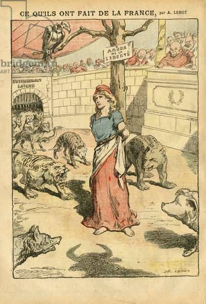 Illustration of Achille Lemot (1846-1909) in Le Pelerin, 24/11/07 - What they did of France - France, Bloc des gauche, Collectivism, Tree of Liberte - Clemenceau George, Marianne, Pork Pig, Vulture, Hyene, Bear, Wolves - Religious Metaphore, Historical Metaphore, Obstave