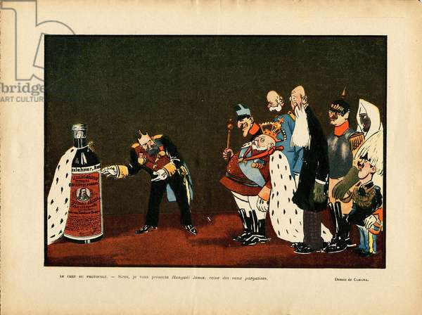 Illustration of Leal de Camara (1877-1948) in Le Rire, 25/12/09 - Belgium, Europe, Portugal, Austria, Alcohol Alcoholism, Protocol - William II, Leopold II, Edward VII, Alfonso XIII, Francois-Joseph 1er d'Austria, Sultan
