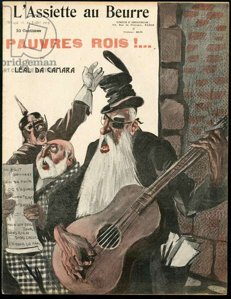 Cover of The Butter Plate, number 432, Satirical in Colours, 1909_7_10: Germany Prussia, Music, England Great Britain, Belgium, Hat, Monarchy, Singing, Guitar - William II, Leopold II, Edward VII - Illustration by Leal de Camara (1877-1948)