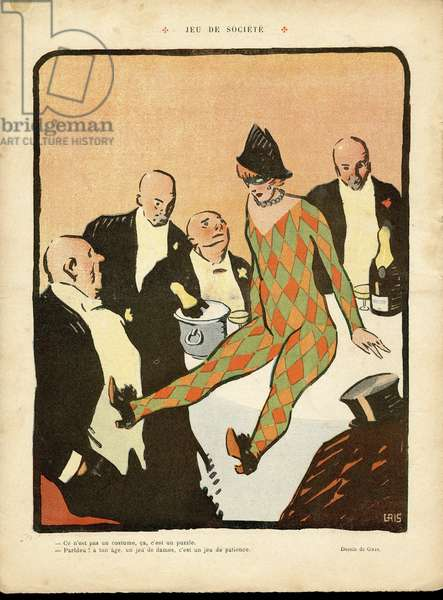 Illustration of J Gris (1887-1927) in Le Lire, 19/03/10 - Game of the rich