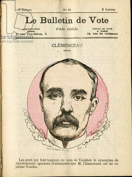 """Cover of """""""" Le Bulletin de vote"""""""", Satirique en Couleurs, 1877: Clemenceau George - Illustration by Louis Alexandre Gosset de Guines (Gill) (1840-1885)"""