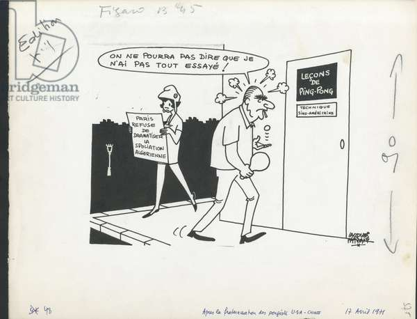 Le Figaro, Satirique en N & B, 1971_4_17: Algeria, President of the Republic, Petrole - Marianne, Pompidou Georges - Illustration by Jacques Faizant (1918-2006)