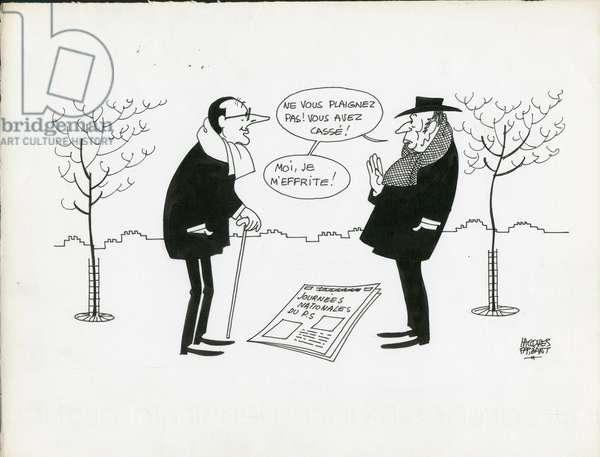 Jours de France, Satirique en N & B, 1979_1_27: President of the Republic - Mitterrand Francois, Chirac Jacques - Illustration by Jacques Faizant (1918-2006)
