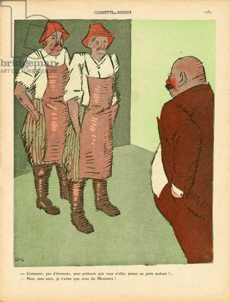 L'Plate au beurre, number 457, Satirique en couleurs, 1910_1_1: Ministere - Illustration by J Gris (1887-1927)