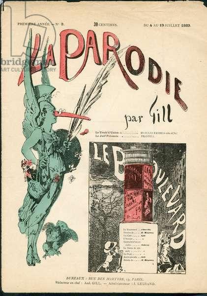 The Parody, 1869_7_4 - Illustration by Louis Alexandre Gosset de Guines dit Gill (1840-1885): Morris Column