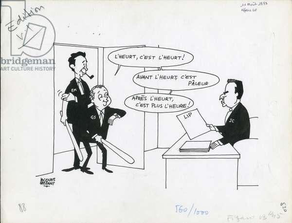 Le Figaro, Satirique en N & B, 1973_8_11: Social, CGT, Lip - Seguy Georges, Maire Edmond, Charbonnel Jean - Illustration by Jacques Faizant (1918-2006)