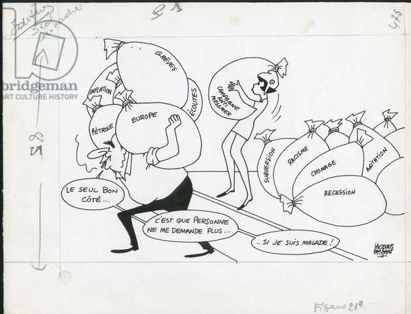Le Figaro, Satirique en N & B, 1973_12_18: Europe, Racism, Chomage, President of the Republic, Petrole, Inflation, Recession - Pompidou Georges - Illustration by Jacques Faizant (1918-2006)
