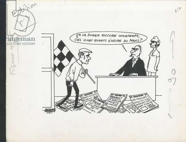 Le Figaro, Satirique en N & B, 1971_5_19: Social, President of the Republic - Marianne, Pompidou Georges, Chaban Delmas Jacques - Illustration by Jacques Faizant (1918-2006)