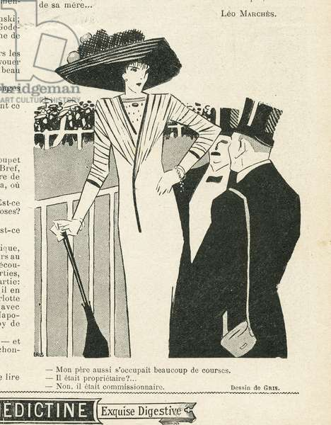 Illustration of J Gris (1887-1927) in Le Lire, 02/10/09 - Fashion, Hat, Life of the Rich, Hippism - Women