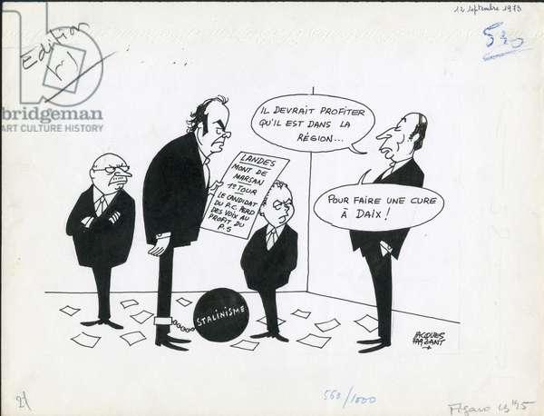Le Figaro, Satirique en N & B, 1973_9_12: CGT, President of the Republic, Union de la gauche - Mitterrand Francois, Duclos Jacques, Marchais Georges, Seguy Georges - Illustration by Jacques Faizant (1918-2006)
