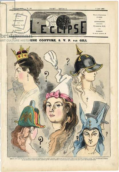 Illustration of Louis Alexandre Gosset de Guines dit Gill (1840-1885) for the Cover of L'Eclipse, 1872-4-7 - A hairstyle SVP - Censorship, Helmet with pointed, Hat, Monarchy - Marianne - Bicorn, donkey hat, night cap, top