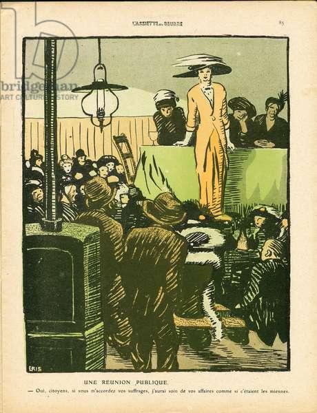 L'Plate au beurre, number 474, Satirique en couleurs, 1910_4_30: Feminism anti, Elections, Life of the rich, Political meeting, Suffragism - Women - Illustration by J Gris (1887-1927)