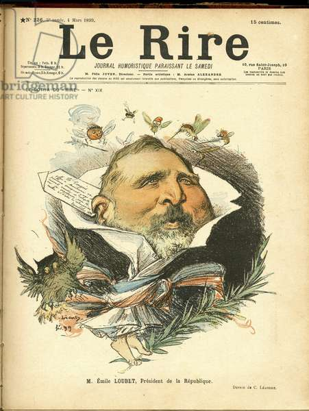 Illustration of Charles Leandre (1862-1934) for the Cover of Le Rrire, 1899-3-4 - President of the Republic - Marianne, Insects, Owl/Owl, Loubet Emile