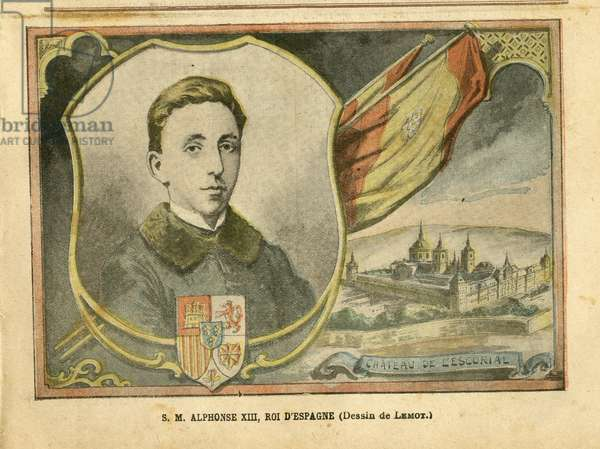 Illustration of Achille Lemot (1846-1909) in Le Pelerin, 17/04/04 - S M Alfonso XIII, King of Spain - Spain, Monarchy, Foreign Sovereign, Chateau, Escurial - Alfonso XIII