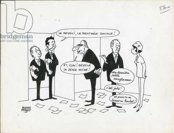 Le Figaro, Satirique en N & B, 1973_9_5: Social, CGT - Marianne, Seguy Georges, Maire Edmond, Pompidou Claude - Illustration by Jacques Faizant (1918-2006)