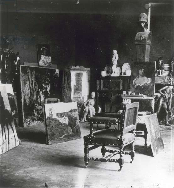 Interior of the workshop of Gustave Courbet (1863)