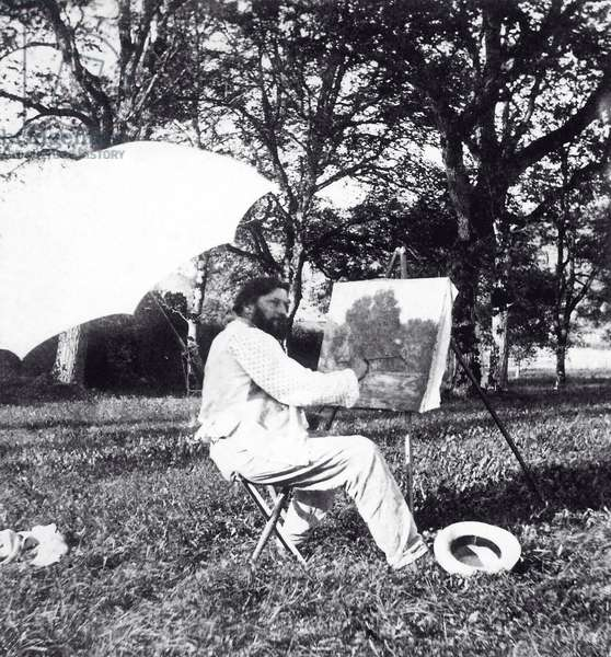 Gustave Courbet painting in a field, 1864 (b/w photo)