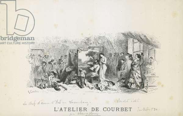 L'atelier de Courbet.Engraving by Gustave Fraipont (1849-1923)