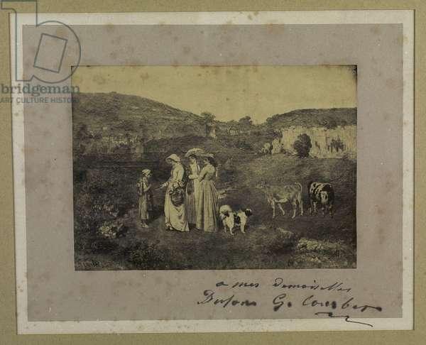 Engraving of the Village Bridesmaids (19th century)