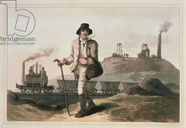 Blenkinsop locomotive at Middleton colliery near Leeds, engraved by Robert and Daniel Havell, 1814 (colour litho)