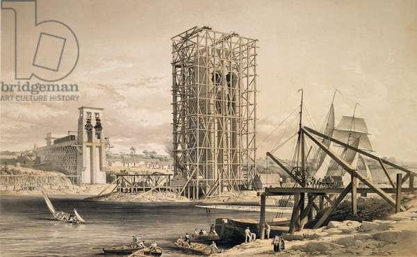 View of the construction of the Britannia Tubular Bridge (colour litho)